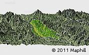Satellite Panoramic Map of Quynh Nhai, semi-desaturated