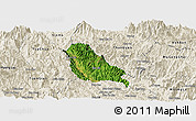 Satellite Panoramic Map of Quynh Nhai, shaded relief outside