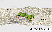Satellite Panoramic Map of Yen Chau, shaded relief outside
