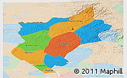 Political Panoramic Map of Song Be, lighten
