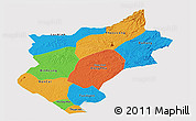 Political Panoramic Map of Song Be, single color outside