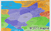 Political Shades Panoramic Map of Song Be