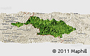 Satellite Panoramic Map of Quan Hoa, shaded relief outside