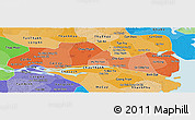 Political Shades Panoramic Map of Tien Giang