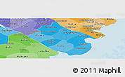 Political Shades Panoramic Map of Tra Vinh