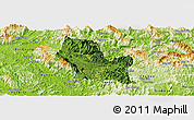 Satellite Panoramic Map of Chiem Hoa, physical outside