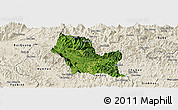 Satellite Panoramic Map of Chiem Hoa, shaded relief outside