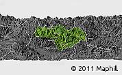 Satellite Panoramic Map of Na Hang, desaturated