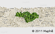 Satellite Panoramic Map of Na Hang, shaded relief outside