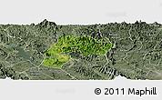 Satellite Panoramic Map of Yen Son, semi-desaturated