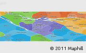 Political Shades Panoramic Map of Vinh Long