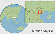 Savanna Style Location Map of Me Linh, highlighted parent region