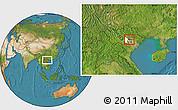 Satellite Location Map of Tam Dao, highlighted parent region
