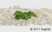 Satellite Panoramic Map of Mu Cang Chai, shaded relief outside