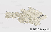 Shaded Relief Panoramic Map of Yen Bai, cropped outside