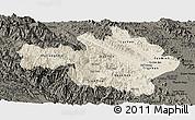 Shaded Relief Panoramic Map of Yen Bai, darken