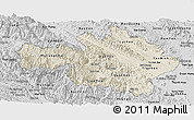 Shaded Relief Panoramic Map of Yen Bai, desaturated