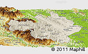 Shaded Relief Panoramic Map of Yen Bai, physical outside