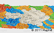 Shaded Relief Panoramic Map of Yen Bai, political outside