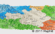 Shaded Relief Panoramic Map of Yen Bai, political shades outside