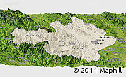 Shaded Relief Panoramic Map of Yen Bai, satellite outside