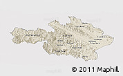Shaded Relief Panoramic Map of Yen Bai, single color outside
