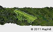 Satellite Panoramic Map of Van Yen, darken