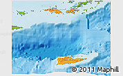 Political Shades 3D Map of Virgin Islands, physical outside