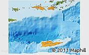 Political Shades 3D Map of Virgin Islands, satellite outside, bathymetry sea
