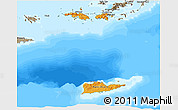 Political Shades 3D Map of Virgin Islands, semi-desaturated, land only