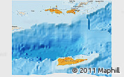 Political Shades 3D Map of Virgin Islands, shaded relief outside, bathymetry sea