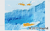 Political Shades 3D Map of Virgin Islands, single color outside