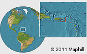 Physical Location Map of Virgin Islands, satellite outside