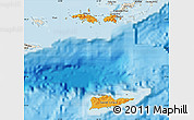 Political Shades Map of Virgin Islands, shaded relief outside, bathymetry sea