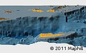 Political Shades Panoramic Map of Virgin Islands, darken