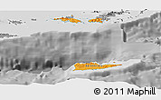 Political Shades Panoramic Map of Virgin Islands, desaturated