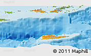 Political Shades Panoramic Map of Virgin Islands, physical outside