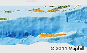 Political Shades Panoramic Map of Virgin Islands, satellite outside, bathymetry sea