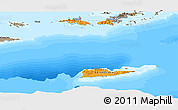 Political Shades Panoramic Map of Virgin Islands, semi-desaturated, land only