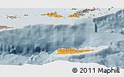 Political Shades Panoramic Map of Virgin Islands, semi-desaturated