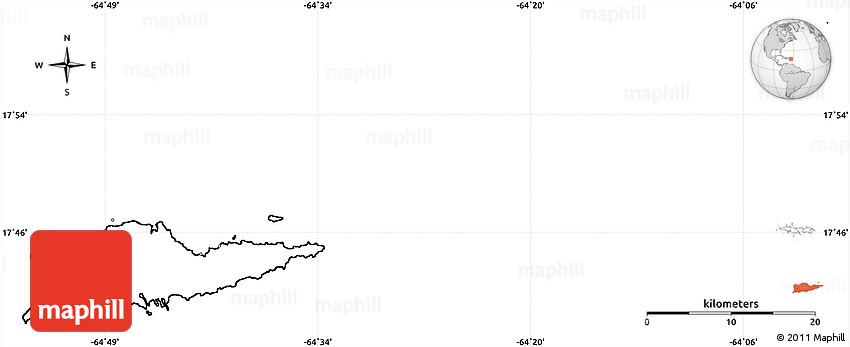 Blank Simple Map of Saint Croix, no labels