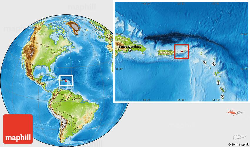 st thomas on world map Physical Location Map Of Saint Thomas