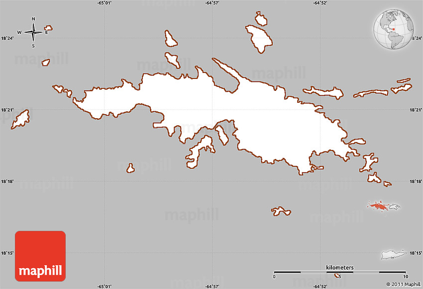 Gray Simple Map of Saint Thomas, cropped outside