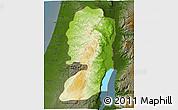 Physical 3D Map of West Bank, darken