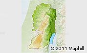 Physical 3D Map of West Bank, lighten