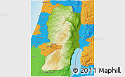 Physical 3D Map of West Bank, political outside, shaded relief sea