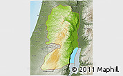 Physical 3D Map of West Bank, semi-desaturated, land only