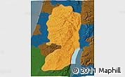 Political 3D Map of West Bank, darken