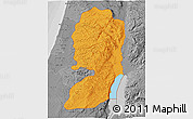 Political 3D Map of West Bank, desaturated