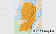 Political 3D Map of West Bank, lighten